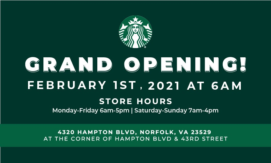 More Info for GRAND OPENING!! Starbucks at Chartway Arena
